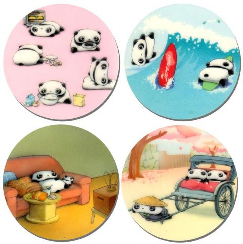 Tarepanda Round Drinks Coasters Set Of 4. High Quality Cork. Kawaii Tare panda